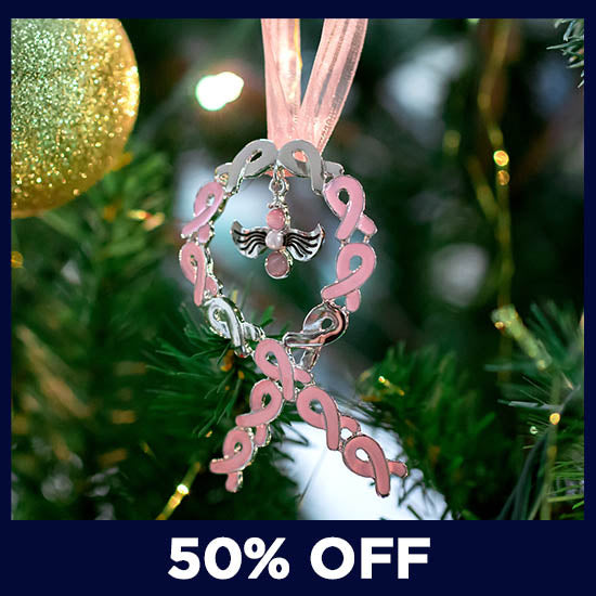 Angel of Faith Pink Ribbon Ornament - 50% OFF