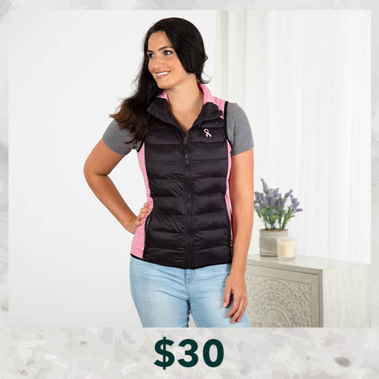 Pink Ribbon Women's Quilted Vest - $30