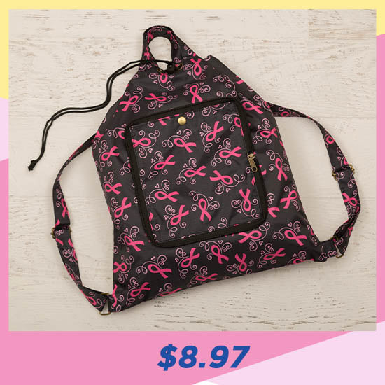 Pink Ribbons & Hearts Packable Backpack - $8.97