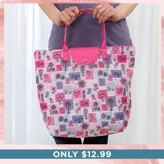 Pink Ribbon Live Laugh Love Breast Cancer Tote - Only $12.99