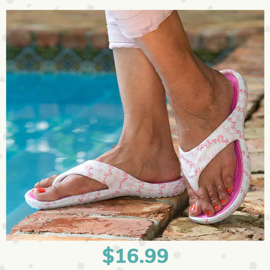 On the Town Pink Ribbon Flip Flops - $16.99