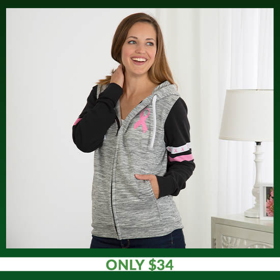 Pink Ribbons & Stripes Heathered Zip Hoodie - Only $34