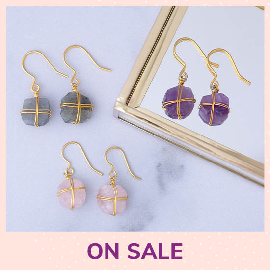 Wrapped Stone Gold-Plated Earrings - On Sale