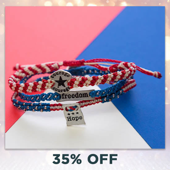 Courage, Hope, & Freedom Woven Bracelets Set - 35% OFF