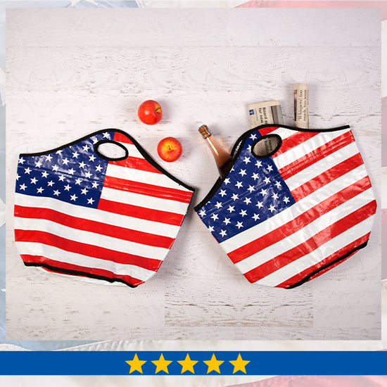 American Flag Insulated Shopping Totes Set - Five Stars