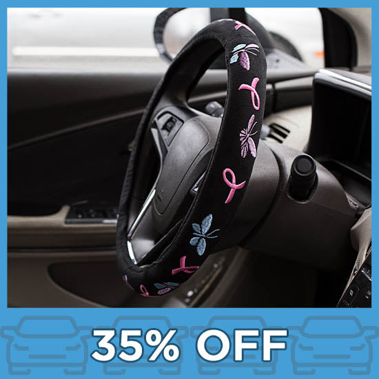 Embroidered Pink Ribbons & Butterflies Steering Wheel Cover