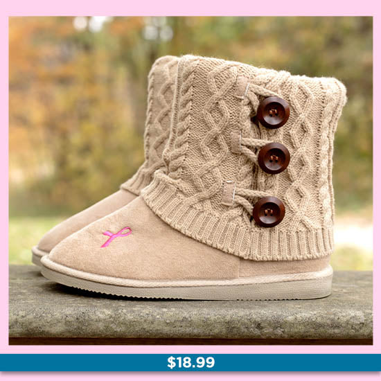 Pink Ribbon Mid Rise Knit Boots for Women - $18.99