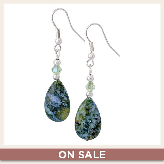 Denim Jasper Teardrop Earrings - On Sale