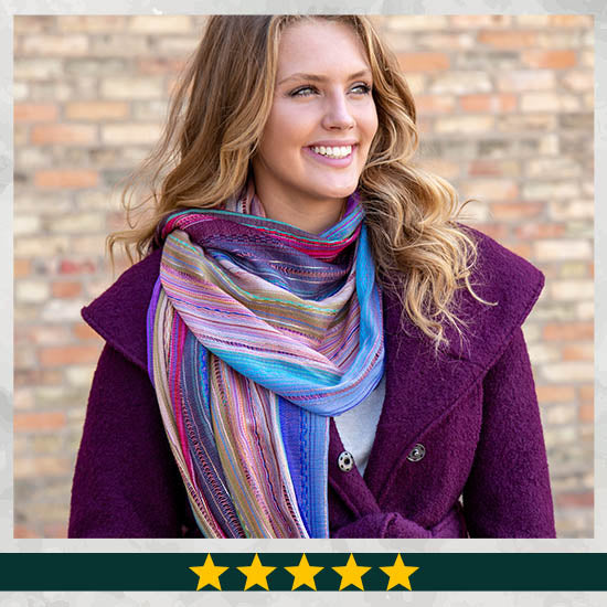 Sky Colors Hand-Loomed Scarf - ★★★★★