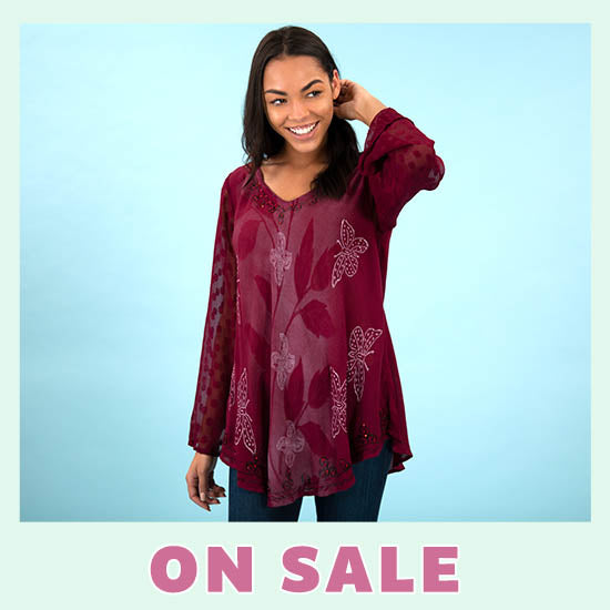 Midnight Butterfly Long Sleeve Tunic - On Sale