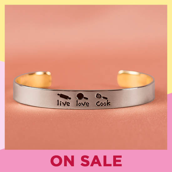 Live Love Cook Cuff Bracelet - On Sale
