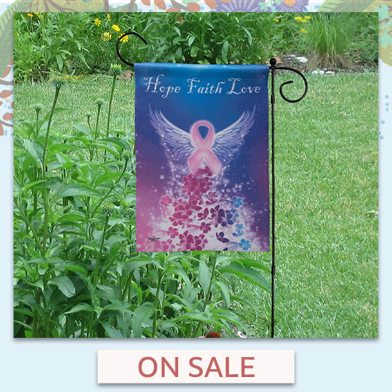 Wings of an Angel Pink Ribbon Garden Flag - On Sale