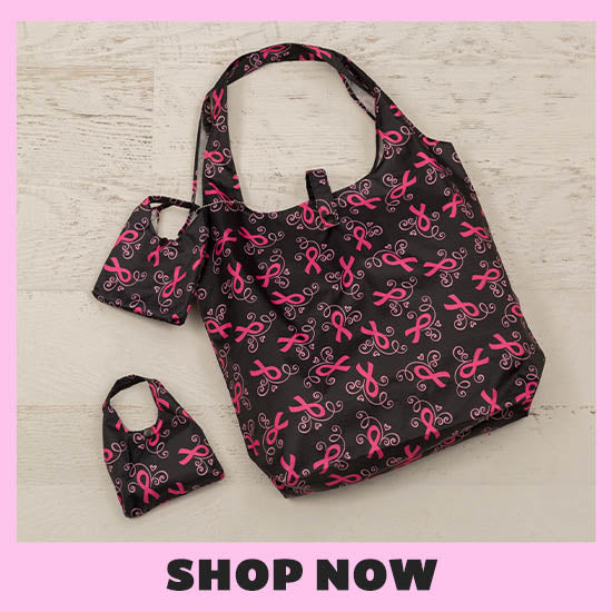 Pink Ribbons & Hearts Packable Shopping Tote - Set of 2 - Shop Now