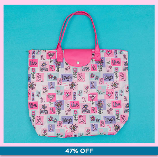 Pink Ribbon Live Laugh Love Breast Cancer Tote - 47% OFF