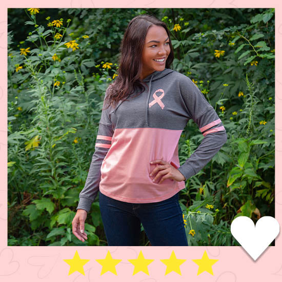 Believe Pink Ribbon Two-Toned Hooded Tee - ★★★★★