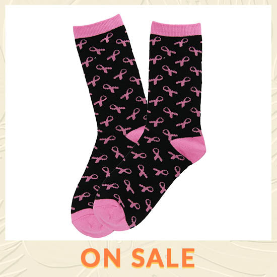 All Over Pink Ribbon Socks - On Sale