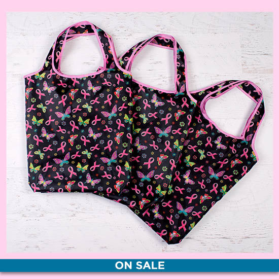 Pink Ribbon & Butterflies Reusable Shopping Bags - Set of 3 - On Sale