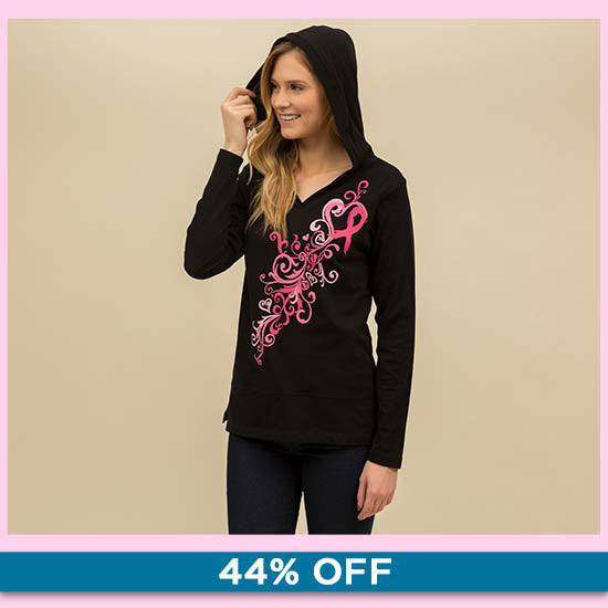 Pink Ribbon Heart Swirl Hooded Lightweight Tunic - 44% OFF