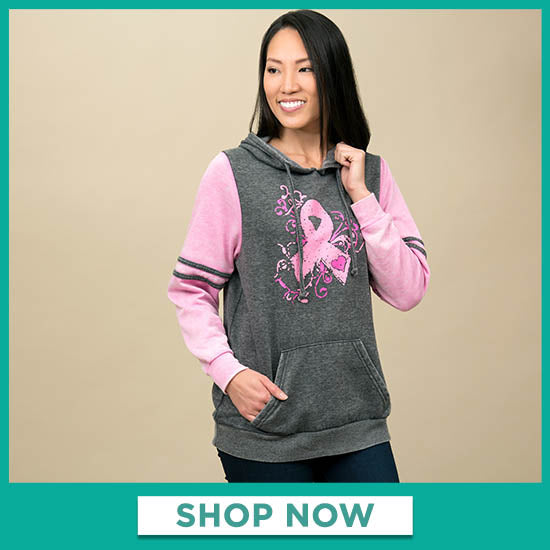 Burnout Pink Ribbon Pullover Hoodie - Shop Now