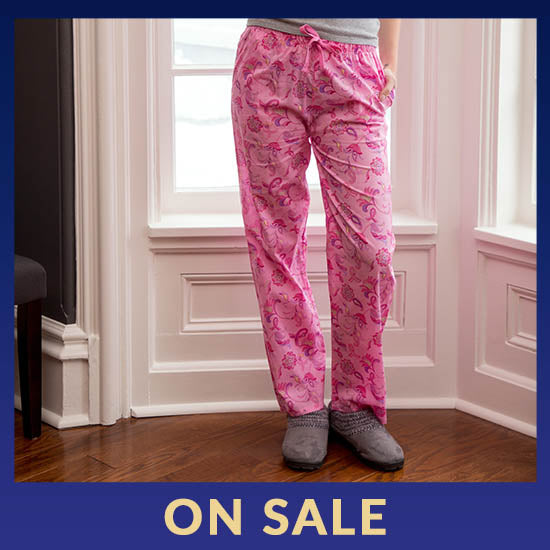 Pink Ribbon Floral Lightweight Lounge Pants - On Sale