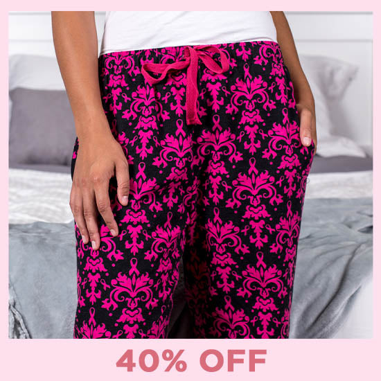 Baroque Pink Ribbon Flannel Lounge Pants - 40% OFF