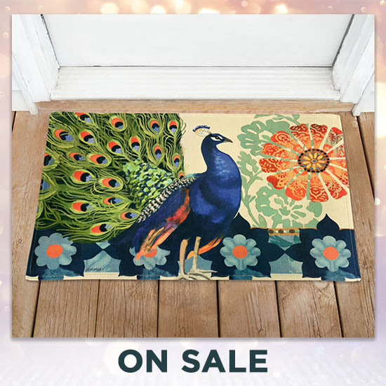 Kashmir Peacock Door Mat - On Sale