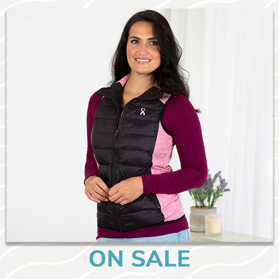 Pink Ribbon Women's Quilted Vest - On Sale