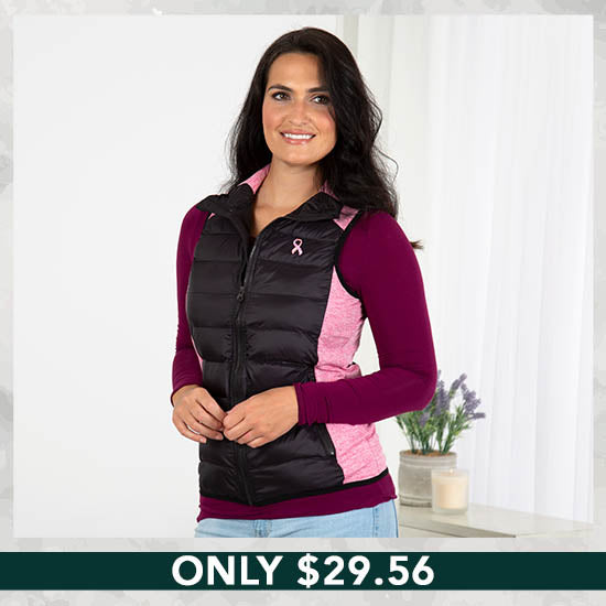 Pink Ribbon Women's Quilted Vest - Only $29.56