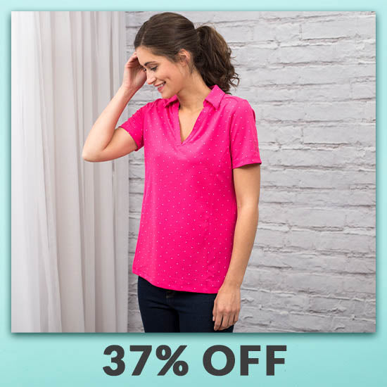 Pink Ribbon Polka Dot Women's Polo Shirt - 37% OFF
