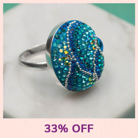 Mosaic Crystals Adjustable Sterling Ring - 33% OFF