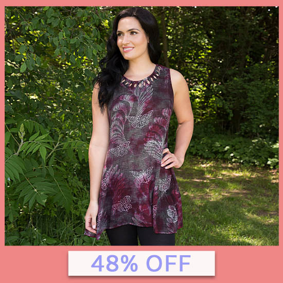 Holly's Monarch Sleeveless Tunic - 48% OFF