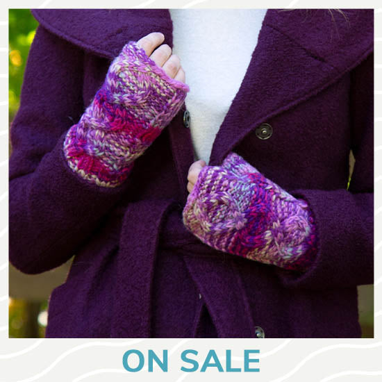 Cable Knit Fingerless Mittens - On Sale