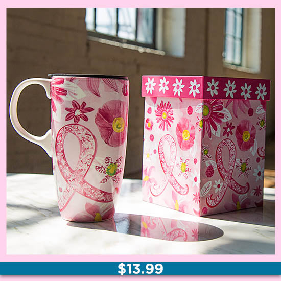 Pink Ribbon Gift Boxed Ceramic Travel Mug - $13.99