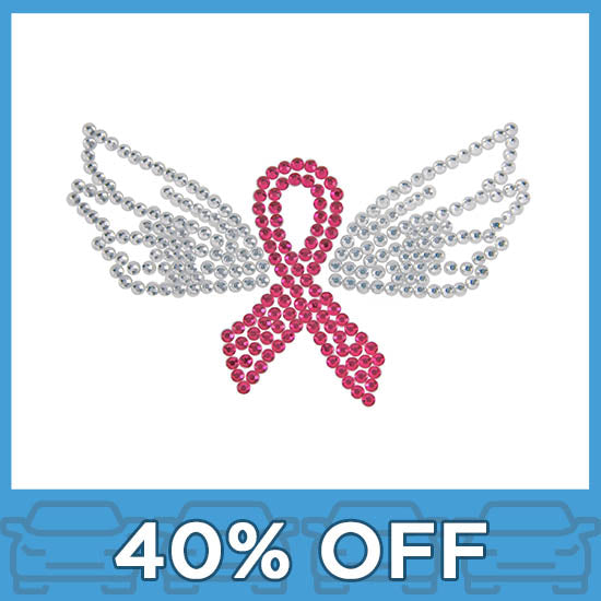 Pink Ribbon Angel Window Bling