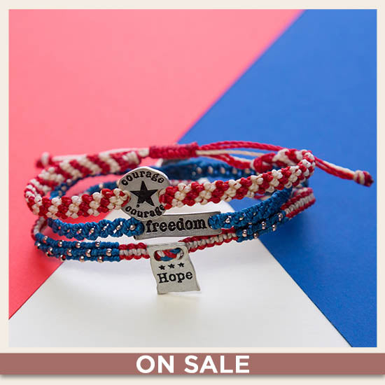 Courage, Hope, & Freedom Woven Bracelets Set - On Sale