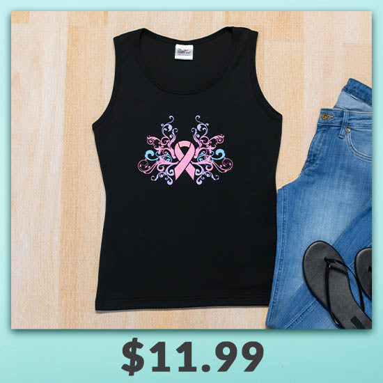 Pink Ribbon Pastel Tank Top - $11.99