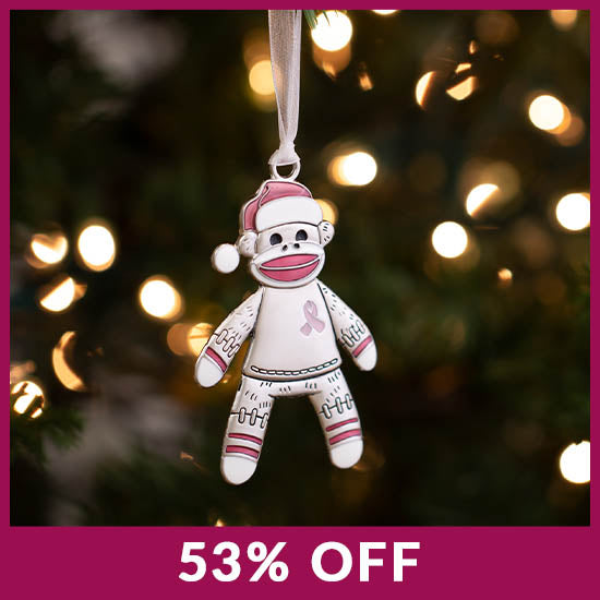 Happy Sock Monkey Pink Ribbon Ornament - 53% OFF