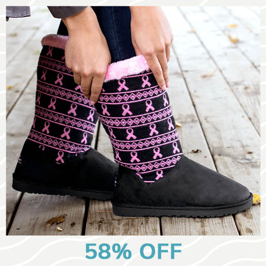 Pink Ribbon Knit Boots - 58% OFF