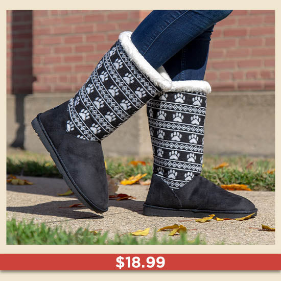 Paw Print Knit Boots - $18.99