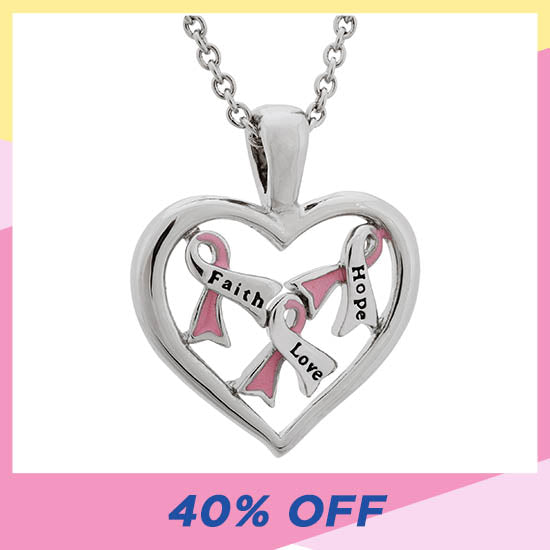 Full Heart Pink Ribbon Necklace - 40% OFF