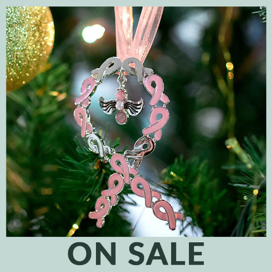 Angel of Faith Pink Ribbon Ornament - On Sale