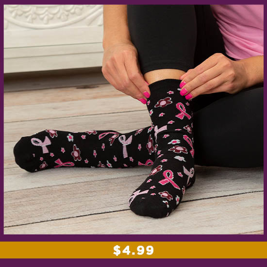 Path to Pink™ Pink Ribbon Socks - $4.99