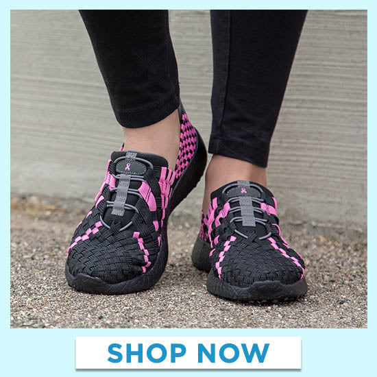 Pink Ribbon Woven Walking Shoes