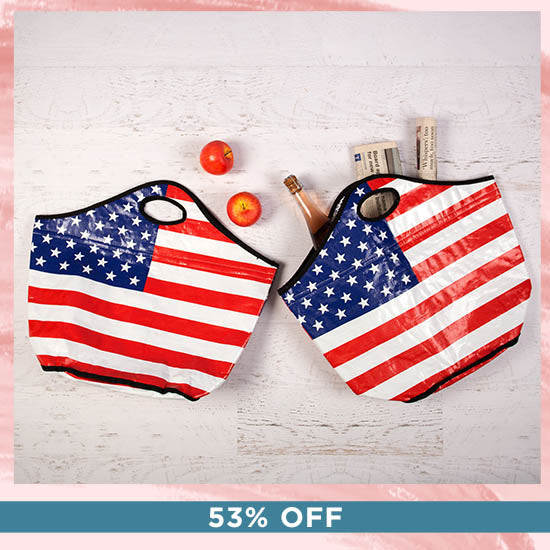 American Flag Insulated Shopping Totes Set - 53% OFF