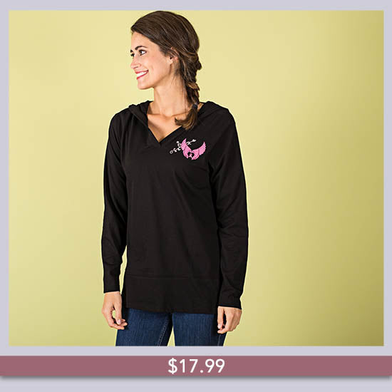 Wings of an Angel Pink Ribbon Hooded Lightweight Tunic - $17.99