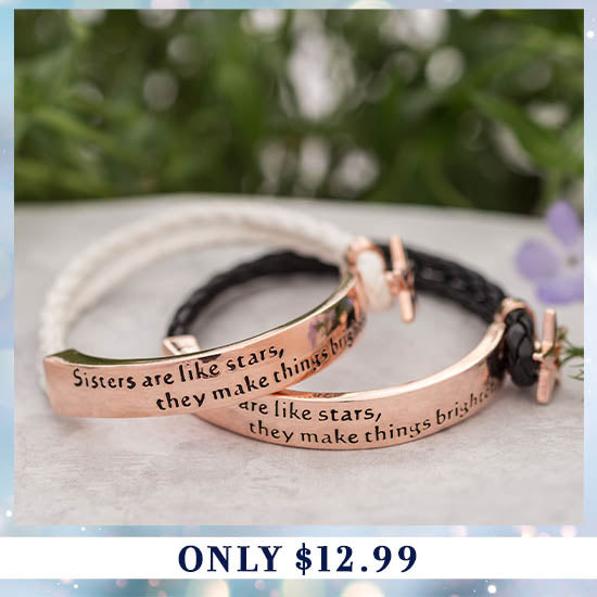 Sisters Are Like Stars Braided Bracelet - Only $12.99