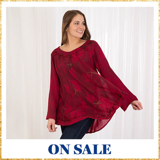 Scarlet Dragonfly Long Sleeve Tunic - On Sale