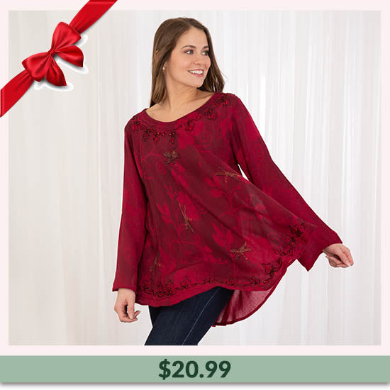 Scarlet Dragonfly Long Sleeve Tunic - $20.99