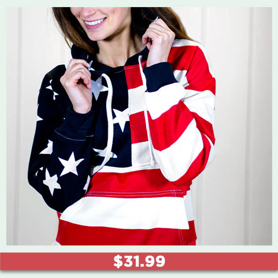 American Flag Hooded Sweatshirt - $31.99