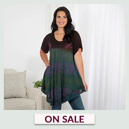 Dragonfly Meadow Short Sleeve Tunic - On Sale